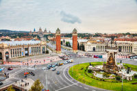 Aerial overview on Plaza Espanya