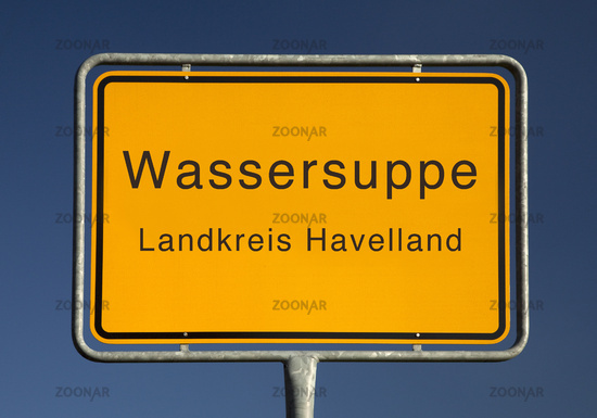 City limits sign, Wassersuppe or watery soup, Havelland district, Brandenburg, Germany, Europe