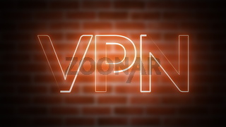 3D rendering of text VPN against the background of brick, computer generated wireframe symbol with glowing laser light