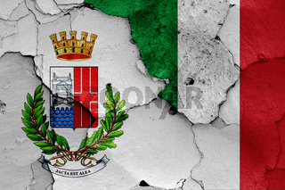 flags of Rimini and Italy painted on cracked wall