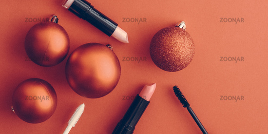 Make-up and cosmetics product set for beauty brand Christmas sale promotion, vintage orange flatlay background as holiday design