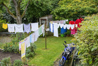 Laundry hangs to dry in the garden
