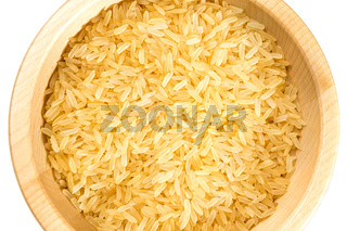 Organic rice on white background.
