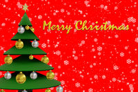 Christmas card with tree and Merry Christmas, 3D Illustration