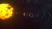 3d rendering of cosmic background. Model of the orbital motion of planets in the solar system, computer generated