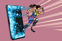 woman runner disabled leg with prosthesis Phone gadget smartphone. Online Internet application service program