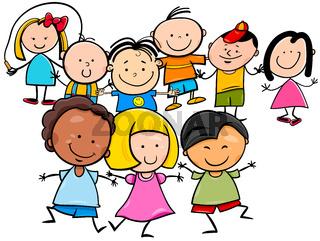 happy kids cartoon characters group