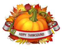 Thanksgiving banner, ribbon with Happy Thanksgiving lettering and orange pumpkins