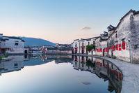 beautiful ancient villages in sunrise