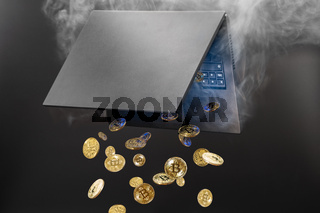 Concept of mining cryptocurrency, Bitcoins generated from steaming laptop