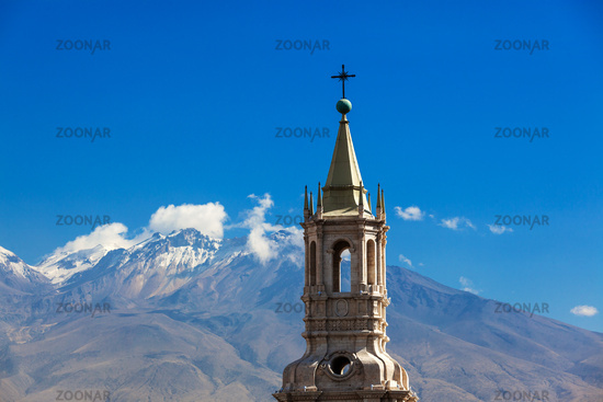 Oldest church in the background volcano