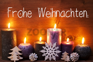 Purple Candle, Christmas Ornament, Frohe Weihnachten Means Merry Christmas