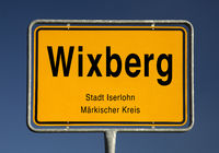 Entrance sign of Wixberg, village in the district of Kesbern the city of Iserlohn, Germany, Europe