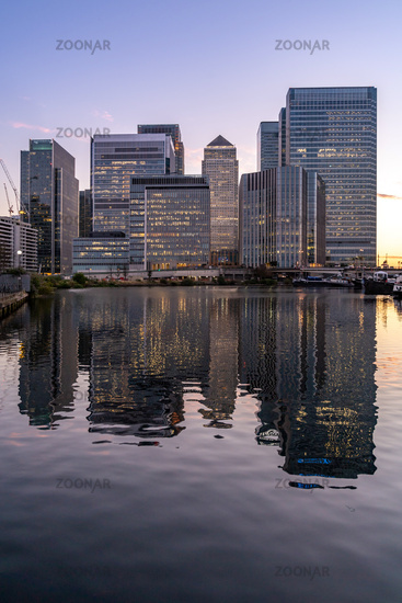 Skylines building at Canary Wharf in London UK sunset twilight