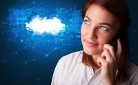 Person talking on the phone with cloud technology concept