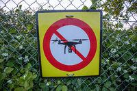 No Drone Warning Sign at Fence
