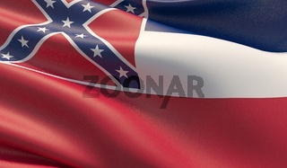 High resolution close-up Flag of Mississippi - United States of America states flags collection. 3D illustration.