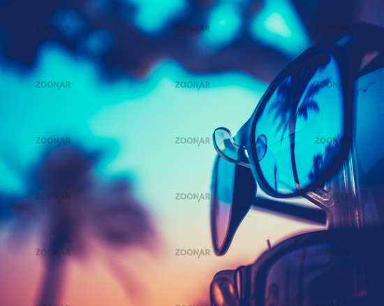 Palm Tree Reflected Vacation Sunglasses