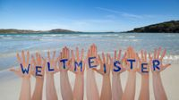 Many Hands Building Weltmeister Means World Champion, Beach And Ocean