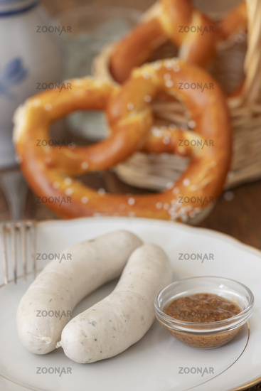 two Bavarian veal sausages
