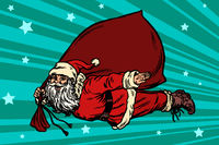 Santa Claus superhero is flying with a bag of gifts