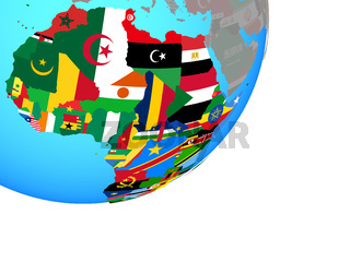 Map of Africa with flag on globe
