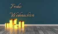 German words Merry Christmas with glowing gift boxes