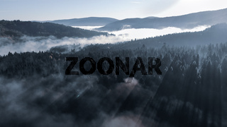 Foggy Autumn Morning in the Carpathian Mountains. Amazing sunrise beauty of the forests. Toning effect
