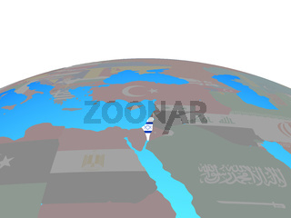 Map of Israel with flag on globe