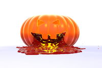 The evil and scary carved face of pumpkin with the blood pours out. Halloween 3d illustration