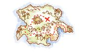 Treasure map of an island showing x mark the spot Drawing Retro