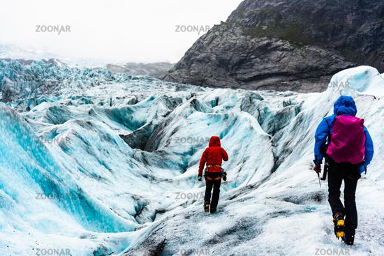 Nigardsbreen,Norway, August 17 2018:Tourists visit the Nigardsbreen Glacier.