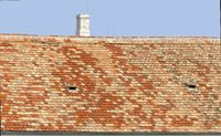 roof with different clay roofing shingles