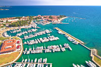 Novigrad Istarski historic Adriatic coastal town coast and marina aerial view