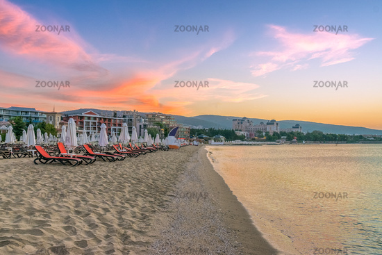 A beautiful beach at sunrise in Sunny Beach on the Black Sea coast of Bulgaria