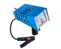 Analog car battery tester, power test load fork, isolated on a white background.