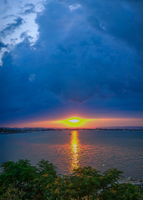 Sunset over the Sunny Beach resort in Bulgaria