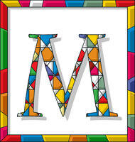 Letter M in stained glass