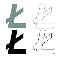 Litecoin icon outline set grey black color