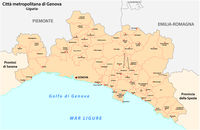 administrative and political map of the metropolitan city of Genoa in the region of Liguria Italy