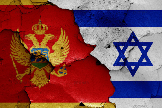 flags of Montenegro and Israel painted on cracked wall