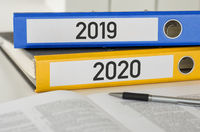 Folders with the label 2019 and 2020
