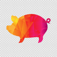 Origami Boar Isolated Transparent Background