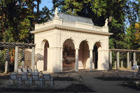 The historic Music pavilion in the Municipal park in Pankow in autumn