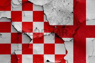 depiction of Croatian checkerboard flag and England flag