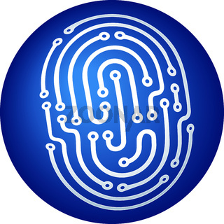 Identity fingerprint icon in blue into a three dimensions sphere.