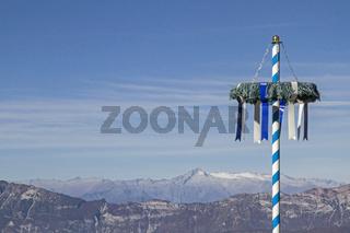 Kurios - bayrischer Maibaum vor Adamellogruppe