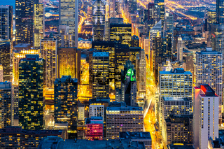 Aerial view of Chicago Skylines South