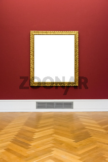 Art Museum Frame Red Wall Ornate Minimal Design White Isolated Clipping Path Template