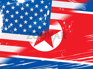North Korea Vs United States Flag 3d Illustration